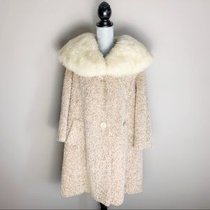 1960s wool coat with real sheep fur collar
